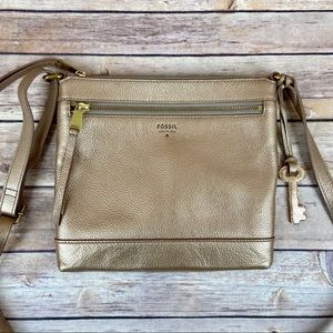 Fossil Gifting Rose Gold Leather Crossbody Bag